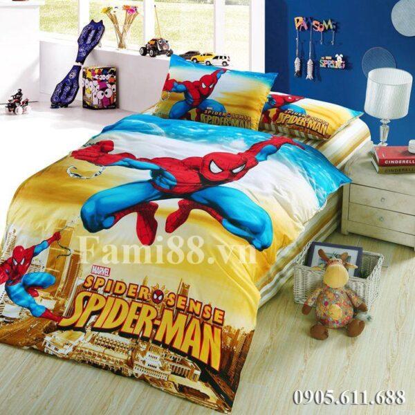 Chăn ga gối Spider Man màu vàng