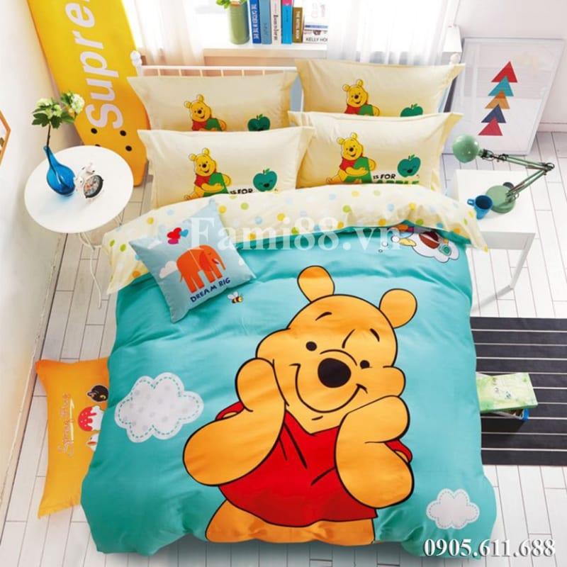 Chăn ga gối đệm gấu Pooh