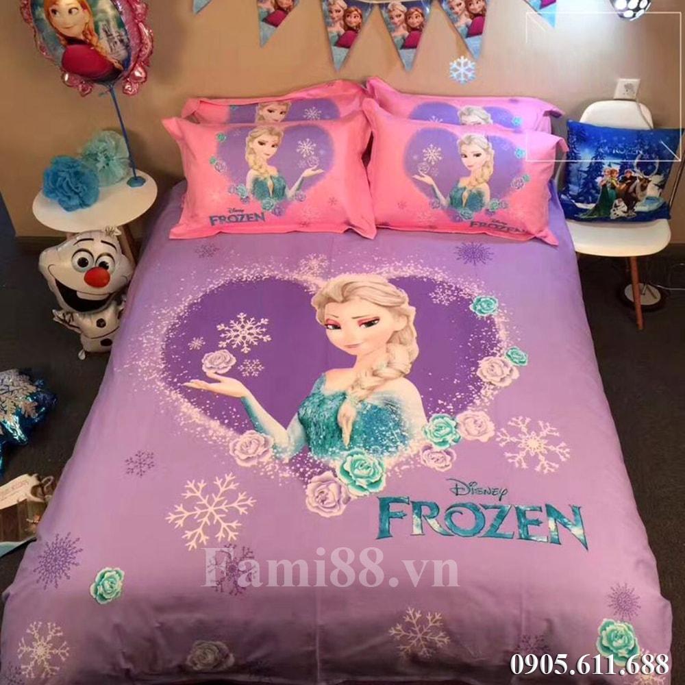 Chăn ga gối hình Elsa và Anna