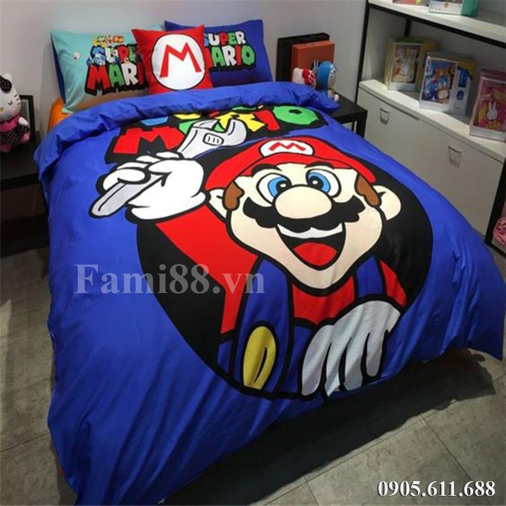 Chăn ga gối hình Mario