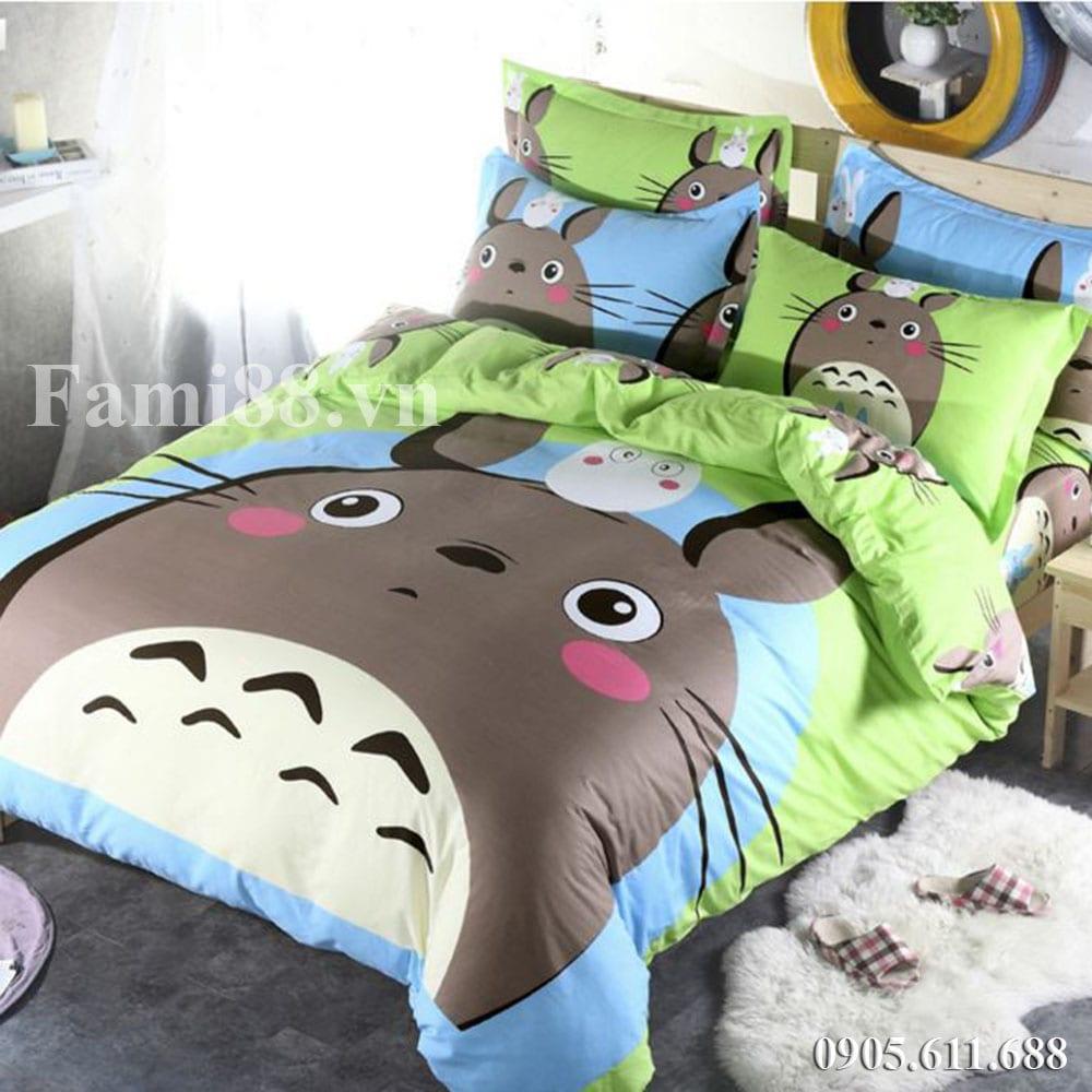 Chăn ga gối hình Totoro xanh