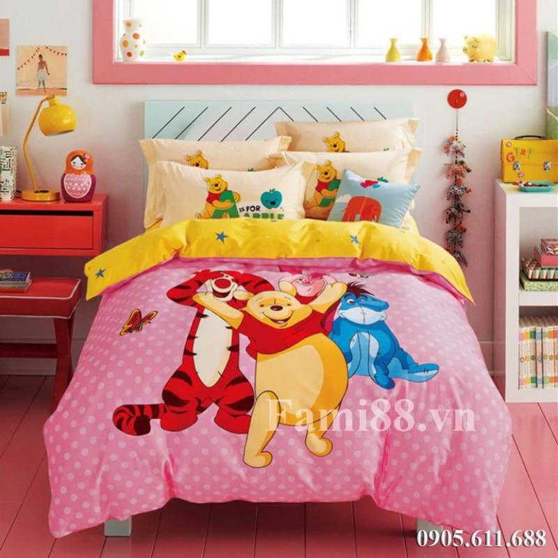 Chăn ga gối nệm hình gấu Pooh