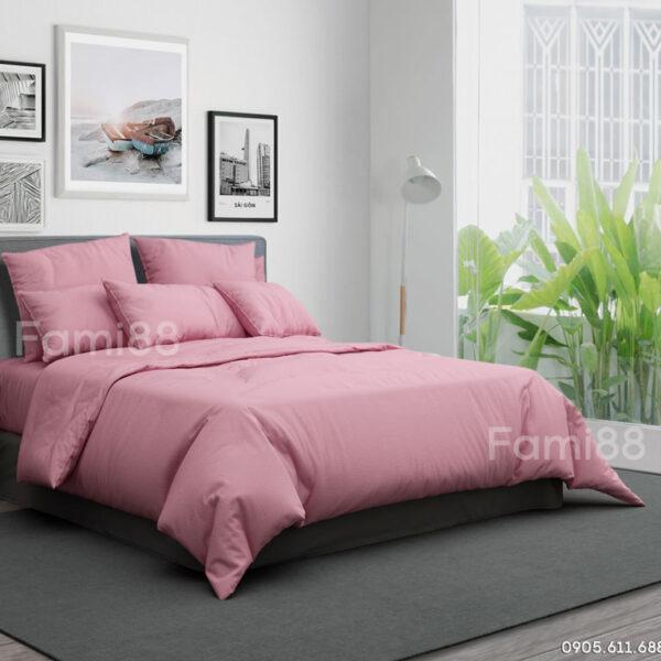 Chăn ga gối cotton hồng phấn trơn