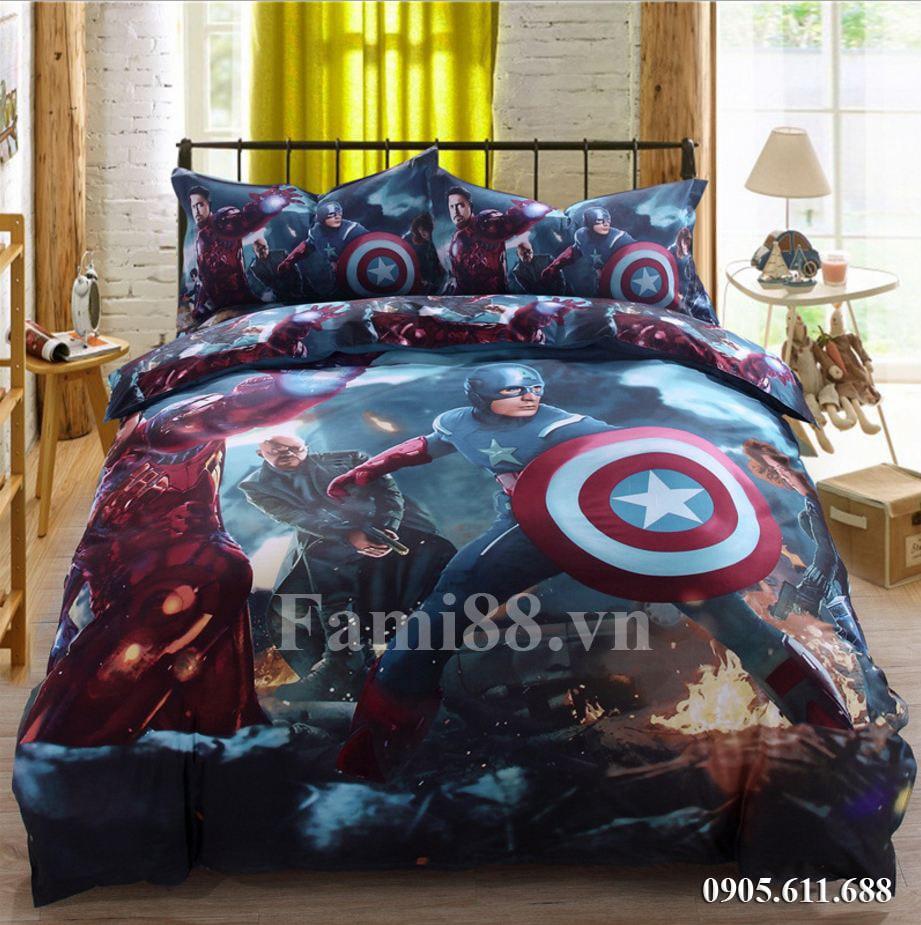 Chăn ga gối hình siêu nhân Captain America