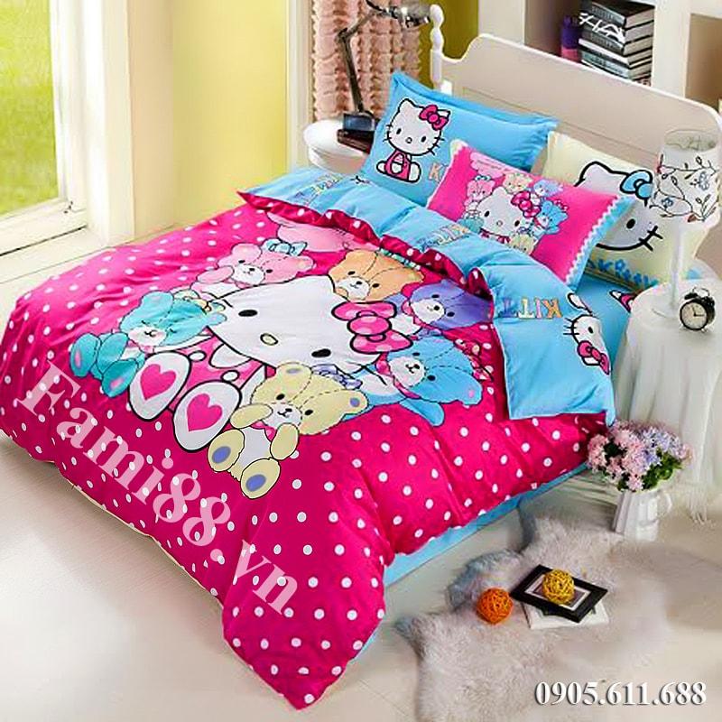 Chăn ga gối nệm hình Hello Kitty