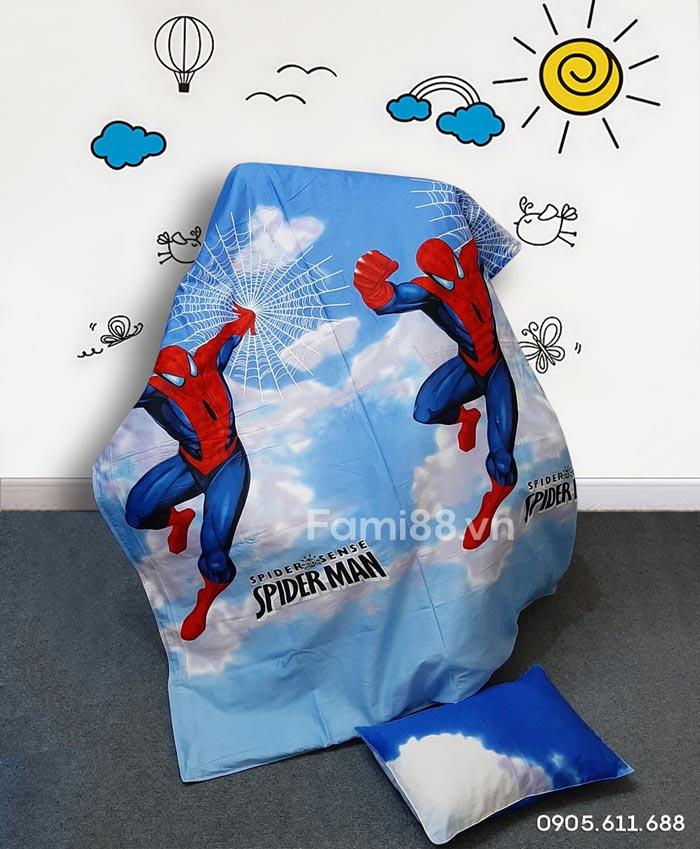 Bộ chăn gối cho bé đi học tiểu học hình Spiderman