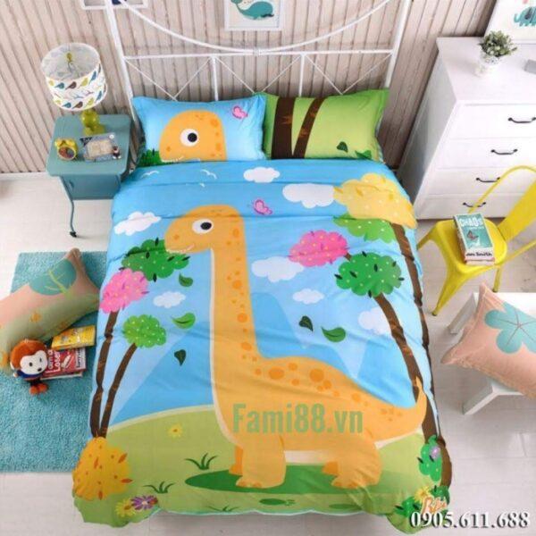 Bộ ga giường cho bé trai hình Khủng Long