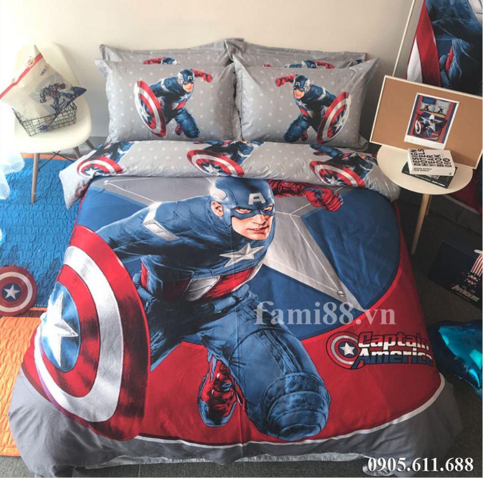 Bộ chăn ga gối siêu nhân Captain America