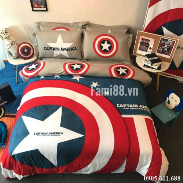Chăn ga gối Captain America