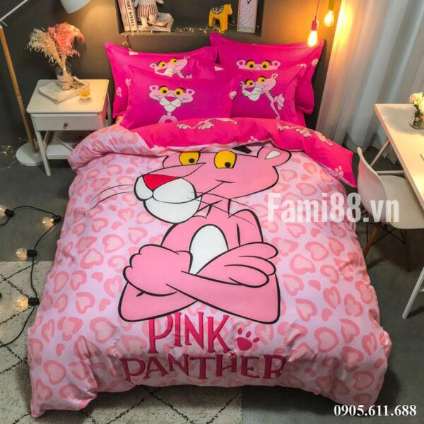 Chăn ga gối hình Chú Báo Hồng Pink Panther