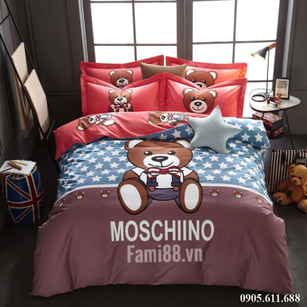 Chăn ga gối hình Gấu Moschino