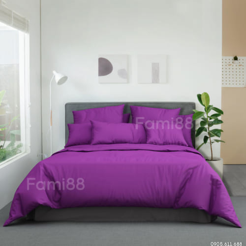 Bộ chăn ga gối màu tím