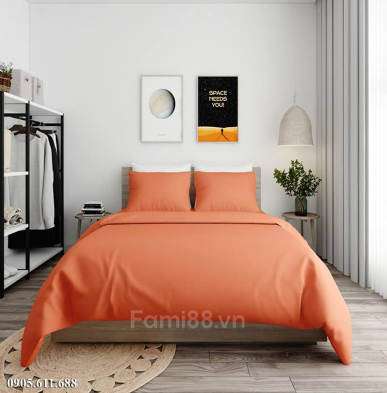 chăn ga gối màu cam