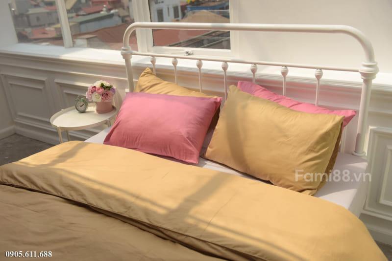 Chăn ga phối màu vàng hồng phấn