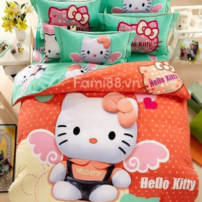 Bộ chăn ga gối đệm Hello Kitty