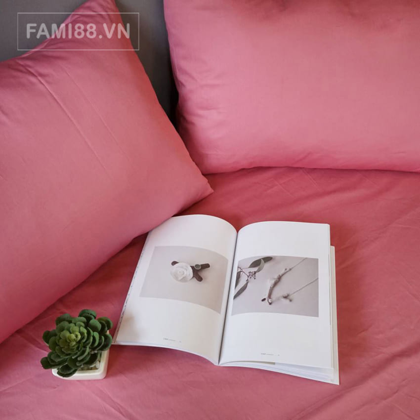 Bộ chăn drap màu hồng