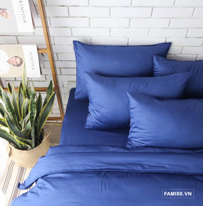 Bộ chăn ga màu xanh dương