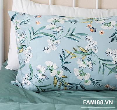 Chăn ga gối hoa lá xanh
