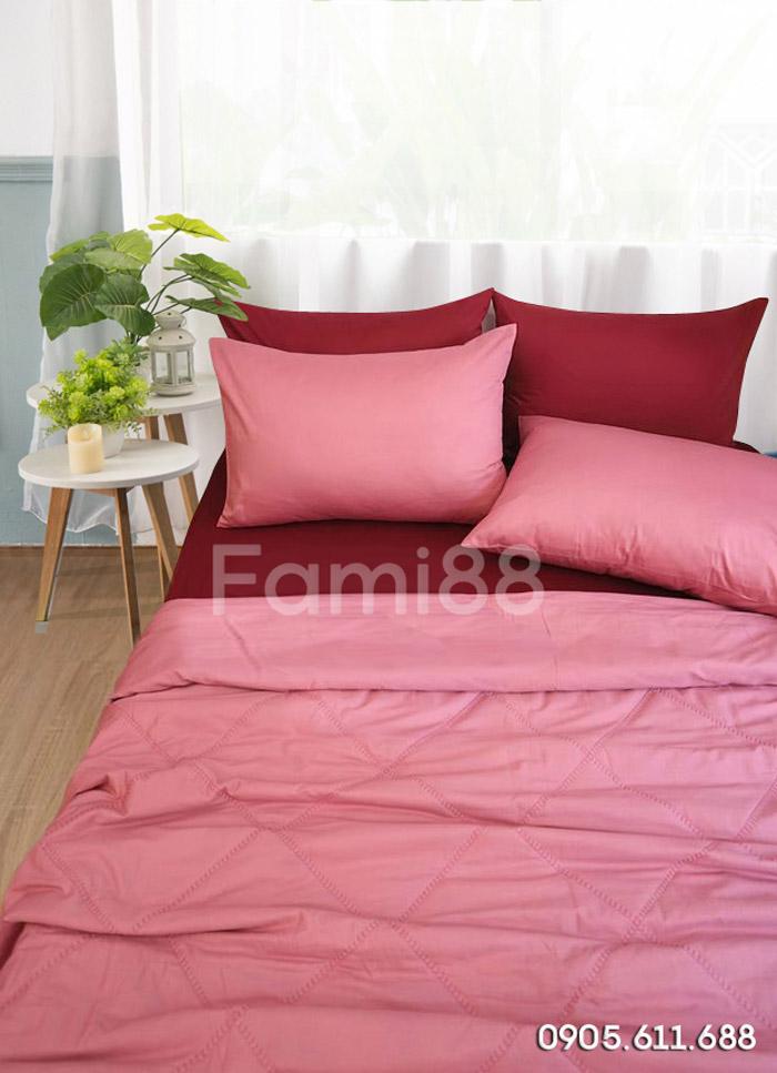 Chăn ga phối màu hồng đỏ