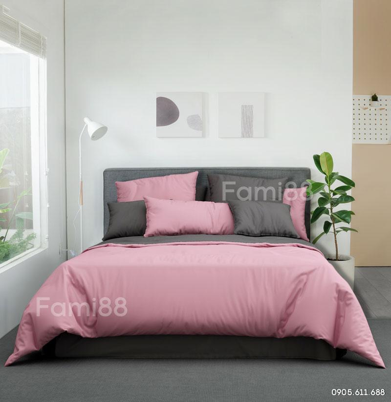 Chăn ga phối màu hồng xám