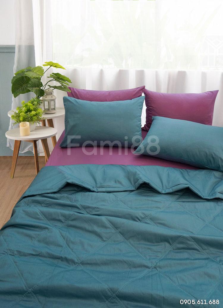 Chăn ga phối màu tím xanh
