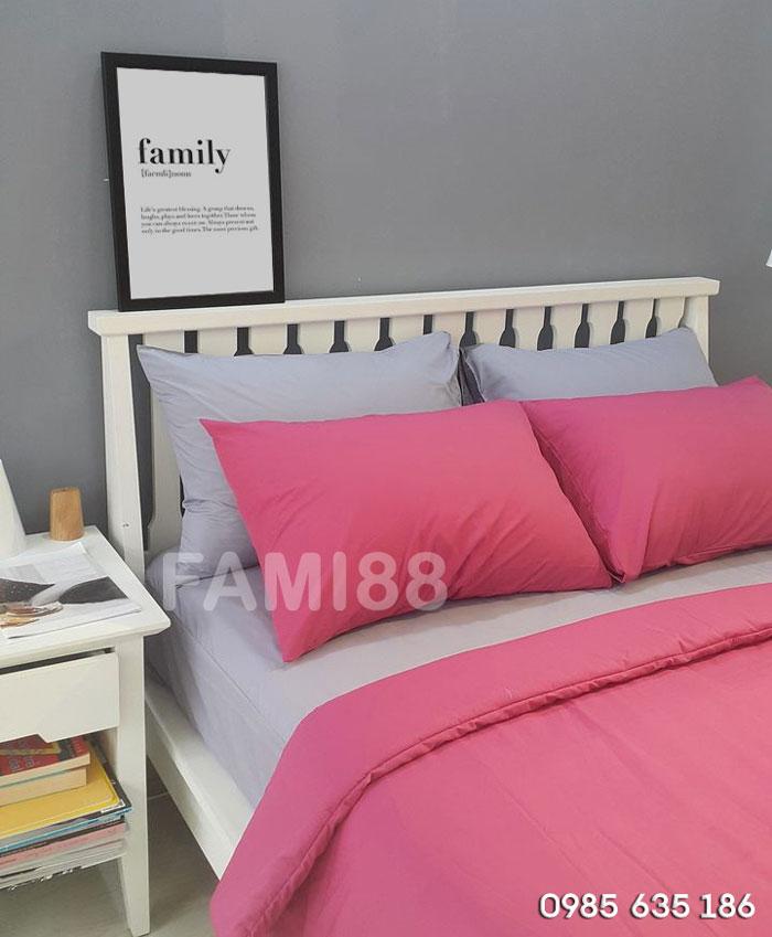 bộ chăn ga gối màu hồng
