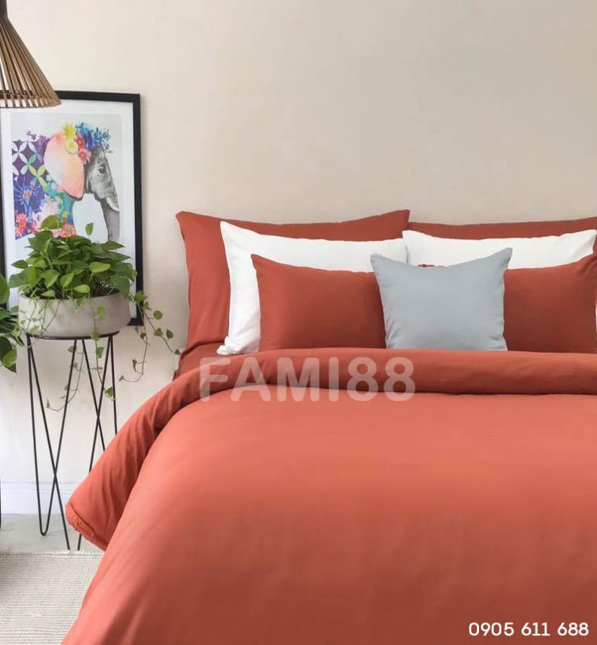 chăn ga gối đệm màu cam cotton satin