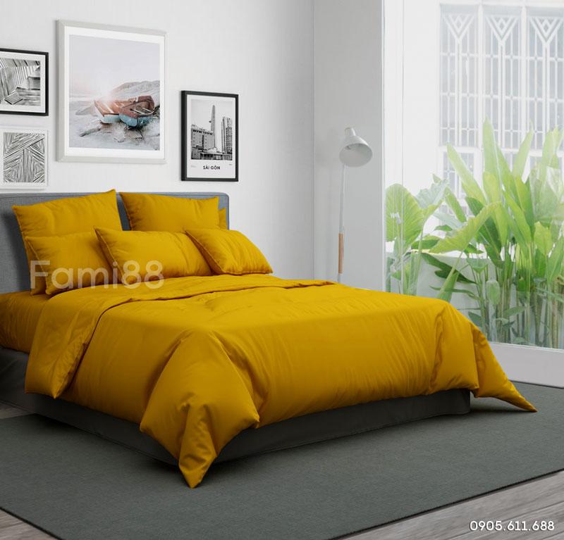 chăn ga gối đệm màu vàng trơn thiết kế cho phòng ngủ hiện đại