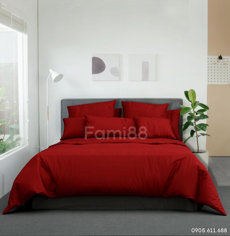 Chăn ga gối màu đỏ thiết kế đẹp
