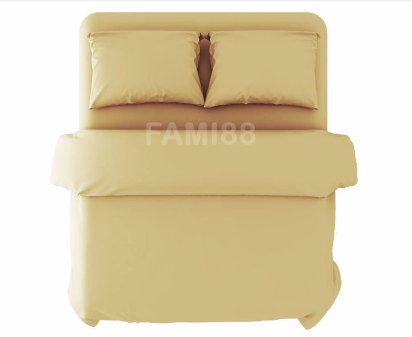 Chăn ga gối màu vàng kem trong thiết kế nội thất phòng ngủ