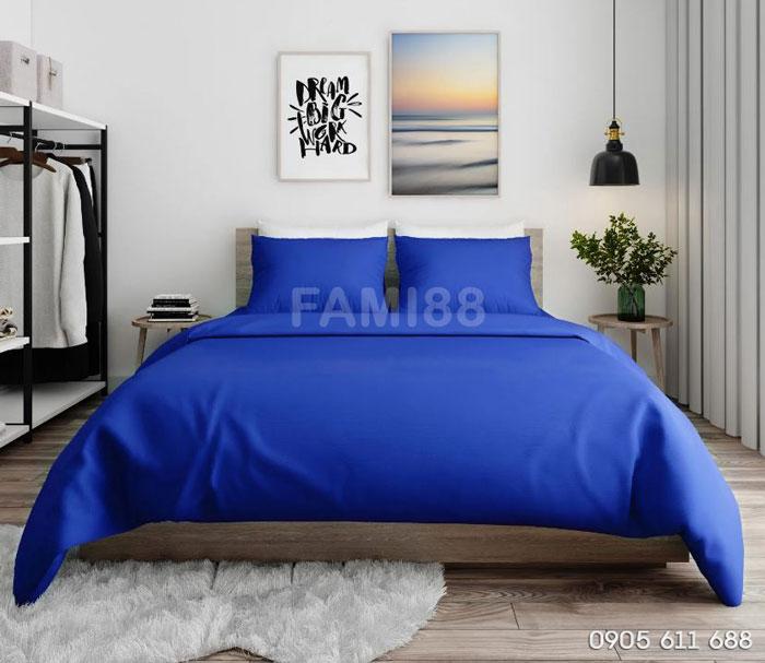 bộ chăn ga gối màu xanh dương mix match