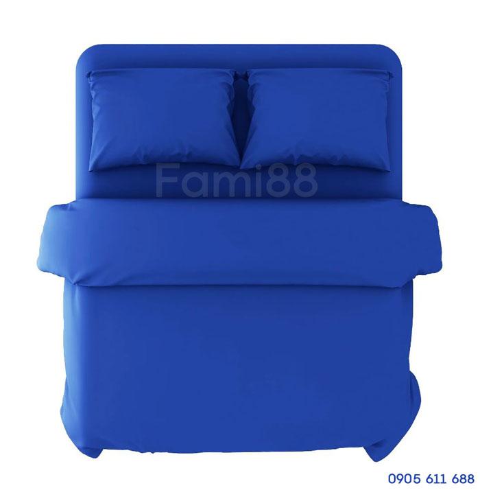 bộ chăn ga gối màu xanh dương mix match blue