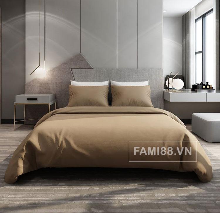 Bộ ga giường màu nâu cafe